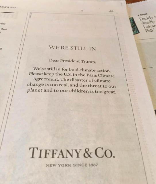 Jewelry Brand Tiffany & Co takes a stand for Climate Change