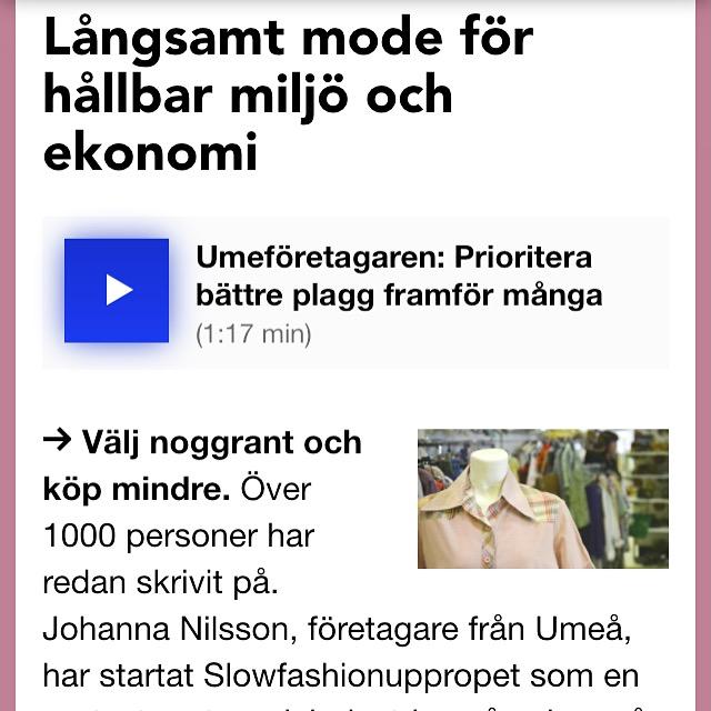 Slowfashionuppropet i Morgon i P4 Västerbotten