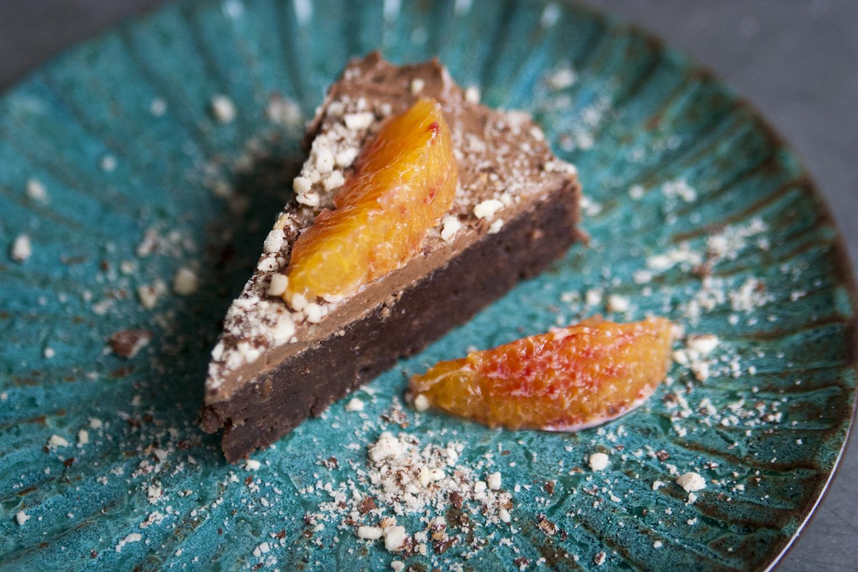 Squashkaka med apelsin- och chokladfrosting (vegansk)