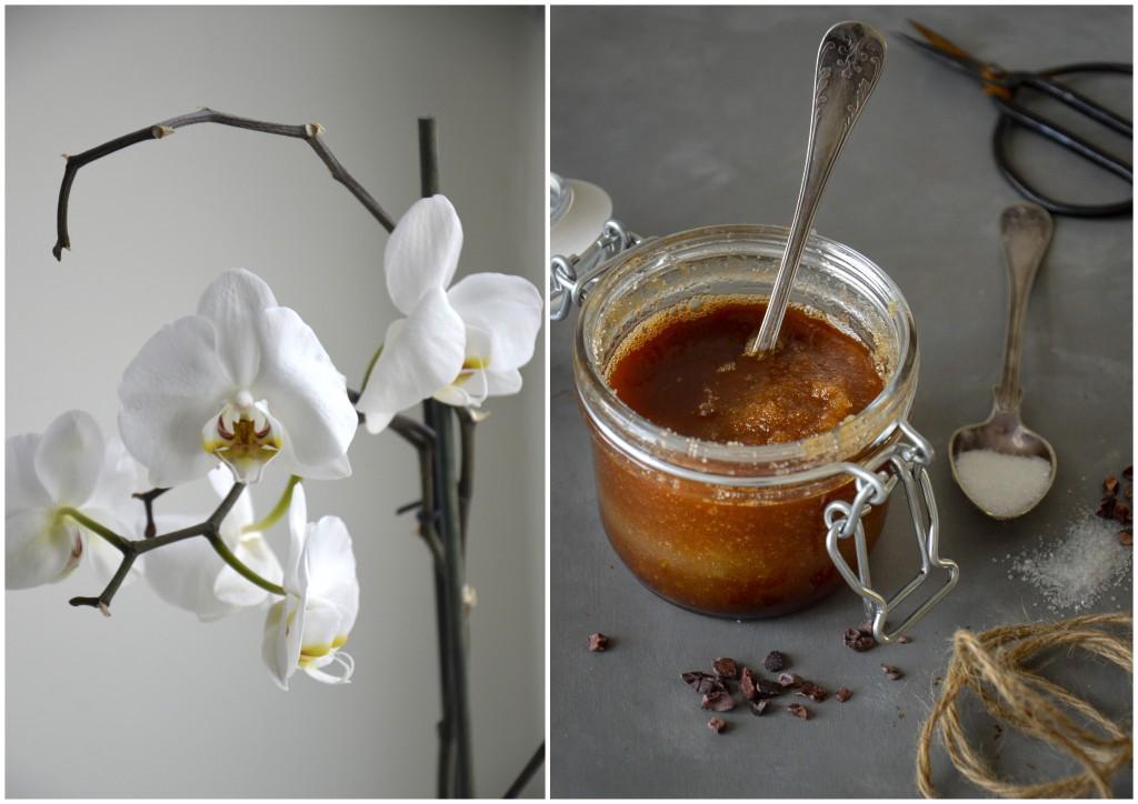 Hemmagjord kroppsskrubb med mandelolja och kakao.